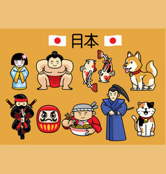 japan character culture in set vector image