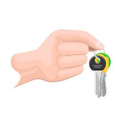 Keys on keyring in human hand flat style vector