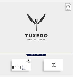 Knife fork spoon tuxedo simple flat logo design vector