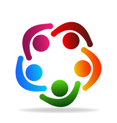 logo teamwork people holding hands in a circle vector image