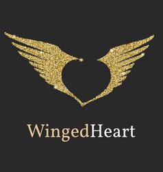 logo with a golden glitter sheen symbol vector image