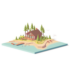 Low poly house in forest vector
