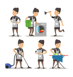maid cartoon in a uniform cleaning service vector image