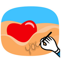 Man hand writing in sand vector