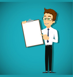 man is pointing his finger at clipboard vector image