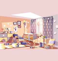 Messy child bedroom sunny interior cartoon vector