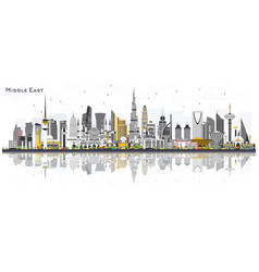 middle east city skyline with color buildings and vector image
