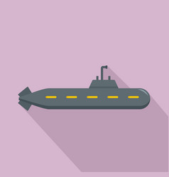 military submarine icon flat style vector image