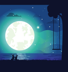 Moon and river silhouette vector