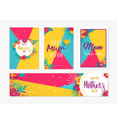 Mothers day card label set with paper flowers vector