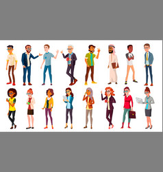 Multinational people set crowd people vector