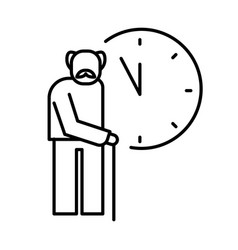 Old man with cane and clocks icon for retirement vector