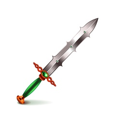 Old sword with green handle isolated on white vector image