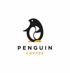 Penguin coffee logo design vector