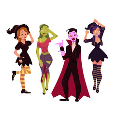 people in halloween party costumes - witch zombie vector image