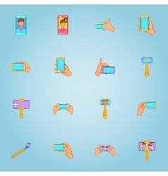 Photo on selfie stick icons set cartoon style vector