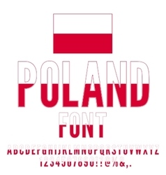 Poland flag font vector