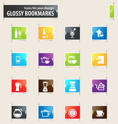 preparation of beverages bookmark icons vector image