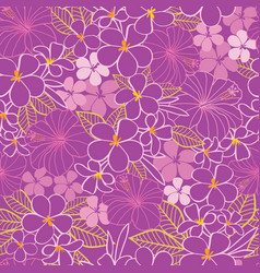 purple and pink tropical flowers hibiscus vector image