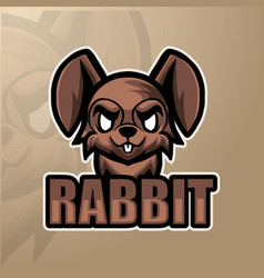 Rabbit mascot esport logo design vector