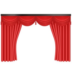 Realistic red silk curtains backdrop entrance vector