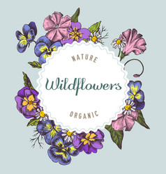 Round paper emblem over wildflowers hand drawn vector