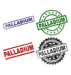 Scratched textured palladium stamp seals vector