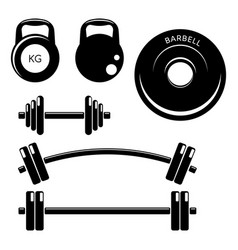 set gym fitness weights elements silhouette icons vector image
