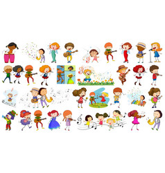 set kids and music vector image