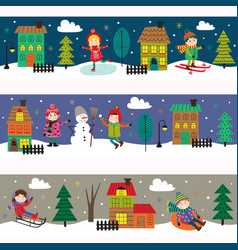 set of horizontal banners with kids in winter time vector image