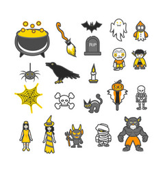 set of icon elements for halloween holidays vector image