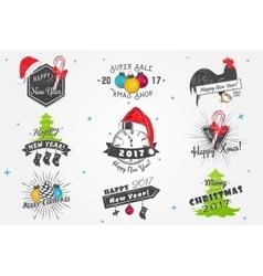Set of New Year and Merry Christmas Christmas vector image