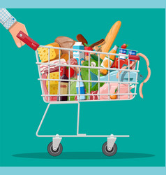 shopping cart with fresh products vector image