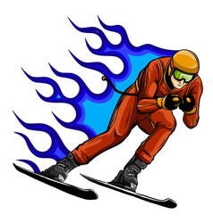 snowboarder crow on fire vector image