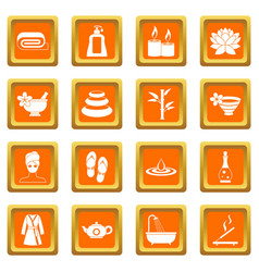 Spa treatments icons set orange vector
