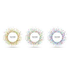 splash frame random halftone circle dots logo vector image