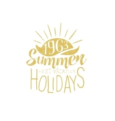 Summer holidays vintage emblem with sunset vector