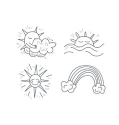 Sunny Weather Icons Set vector