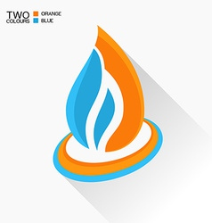 Symbol fire Blue and orange flame glass icon with vector