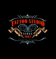 Tattoo studio logo design premium estd 1987 retro vector