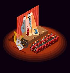 theatre auditorium isometric composition vector image
