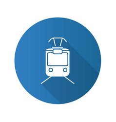 Tram flat design long shadow glyph icon vector