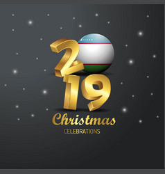 Uzbekistan flag 2019 merry christmas typography vector