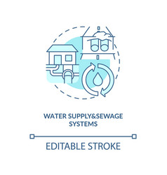 Water supply and sewage systems turquoise concept vector