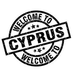 Welcome to cyprus black stamp vector