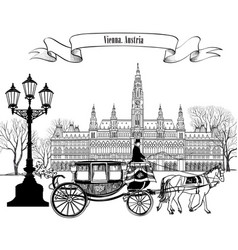 Wien landmark vienna city street carriage travel vector