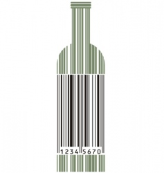Wine bottle and barcode vector