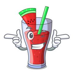 Wink healthy watermelon juice on table cartoon vector