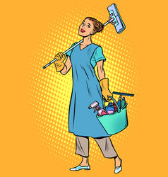 Woman cleaner profession vector