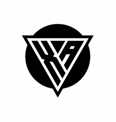 Xa logo with negative space triangle and circle vector